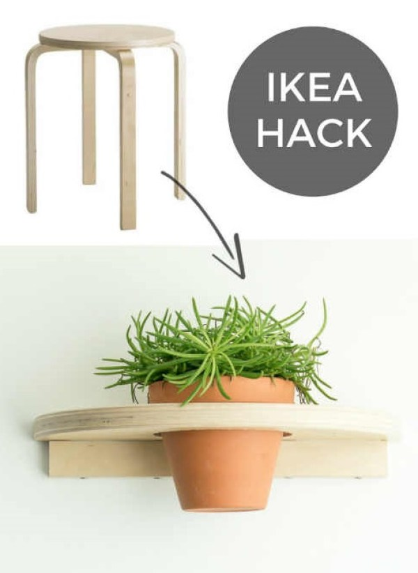 IKEA Hacks your plants will love, Turn this IKEA stool into an awesome plant shelf.