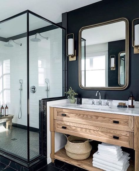 Dark Accent Wall Behind Vanity: Bold Black Accent Wall Ideas