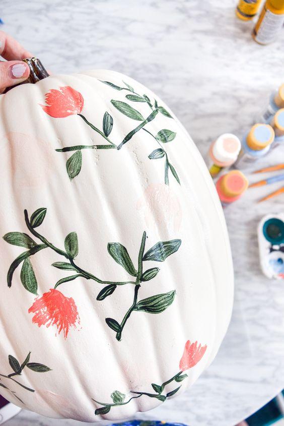 Painted floral no carve pumpkin