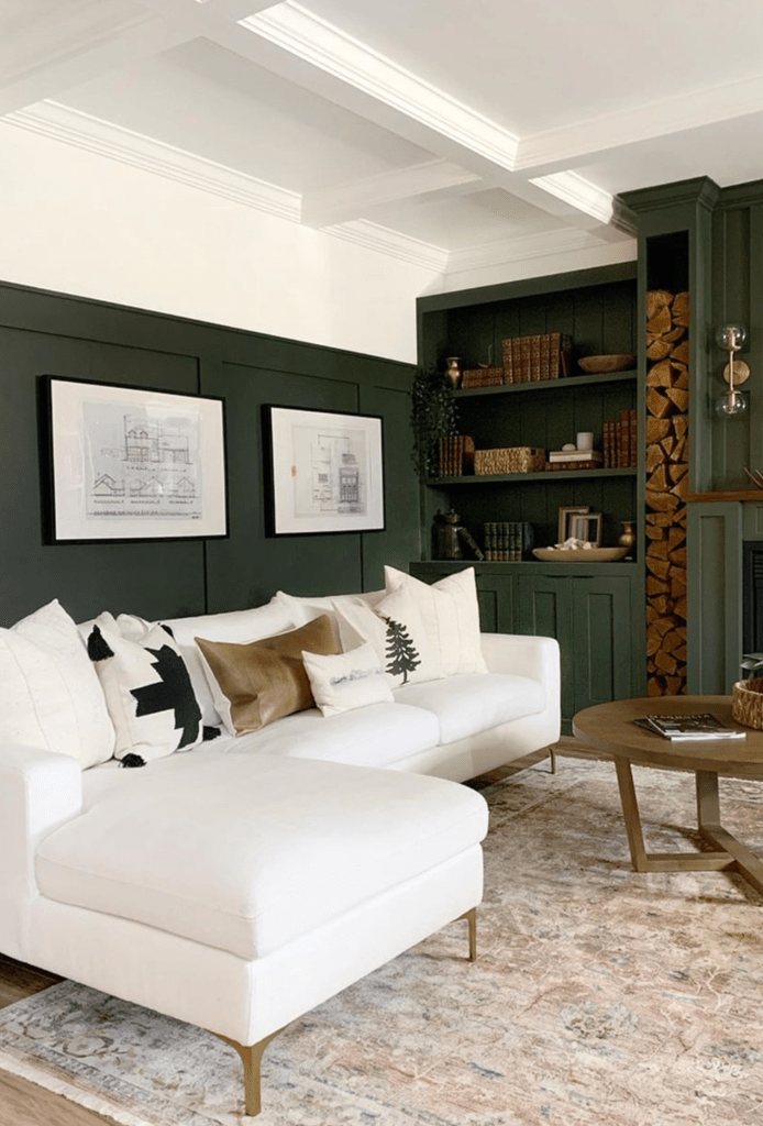 Moody Dark Green Accent Wall Ideas, Dark Green Walls Living Room Ideas