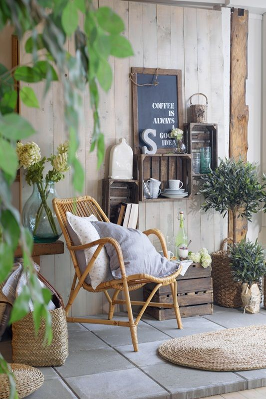 Home Decorating Diy Projects Recycled Crates And A Wicker Chair Give This Patio A French Country Look Diy Decor Object Your Daily Dose Of Best Home Decorating Ideas
