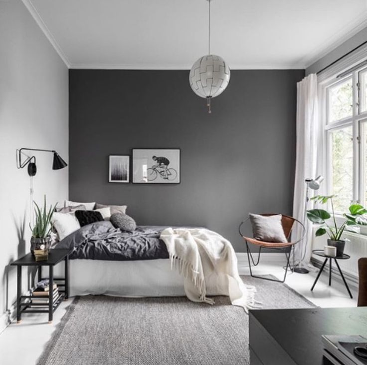 Primary, secondary, and tertiary colors. Furniture - Bedrooms : Grey airy bedroom - Decor Object