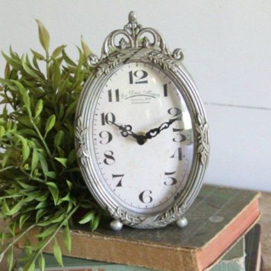 Clocks   Decor Objects  Decorative Table Clock Silver   Decor Object     Decorative Table Clock Silver
