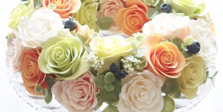 ソフトクレイ|サラダのようなバラのリース