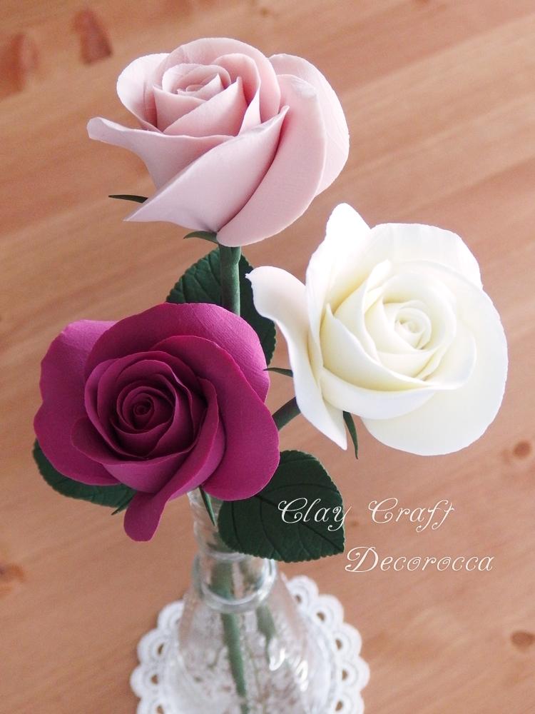 レッスン日和 ~ クレイクラフト体験レッスン ~ 茎付きのバラ