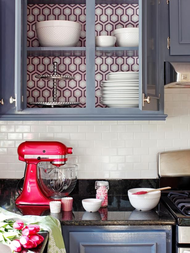 A Modern, Coastal Kitchen Remodel (On a Budget) : Home Improvement : DIY Network I love the wallpaper on the back of the shelf interior, but it's probably way more work than I would have the patience for.: