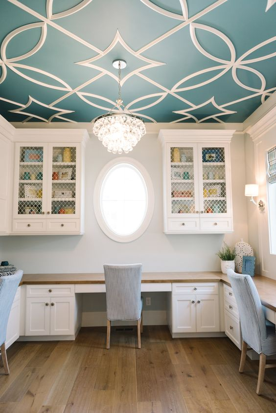 Benjamin Moore Baltic Sea CSP-680 with overlay pattern in Dove White.. I've been looking for this color!!: