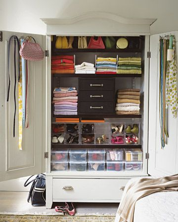 Maximize Wardrobe Dresser - Use Every Square Inch    If the ceiling is high, install shelves above the rods to store items you don't use every day, such as hats, gloves, and other off-season clothing. Walls and the backs of closet doors can support hooks, peg-board (to which you can secure any number of hooks), mirrors, and even bulletin boards for messages and mementos.