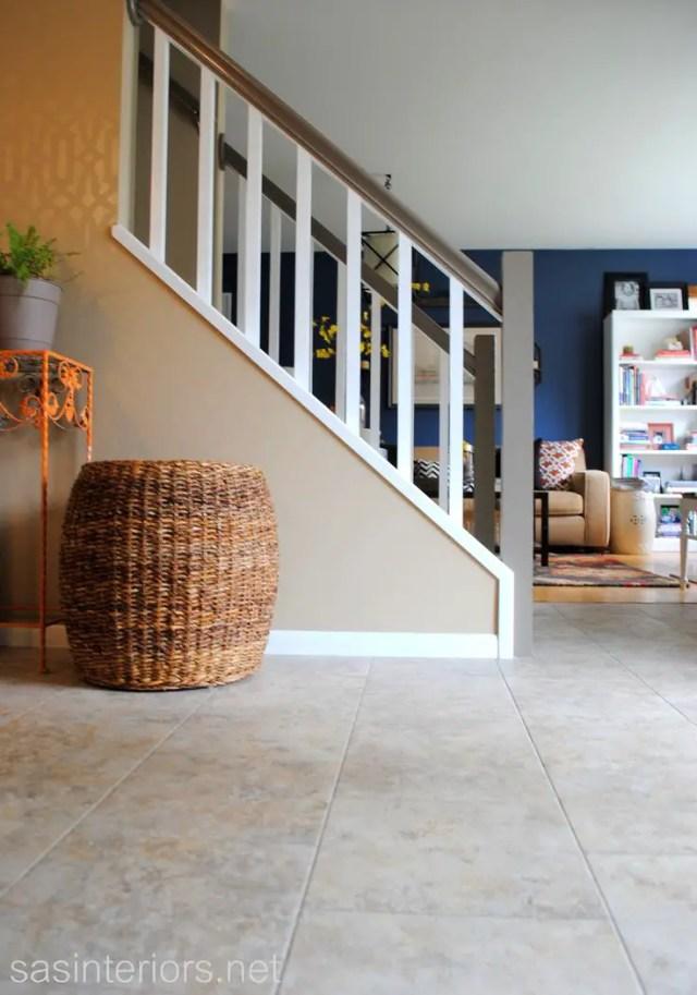 New foyer floor using groutable luxury vinyl tile #LowesCreator