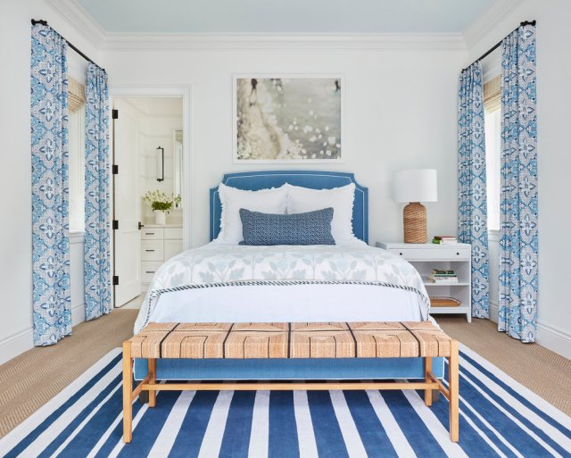 Blue and white designed bedroom