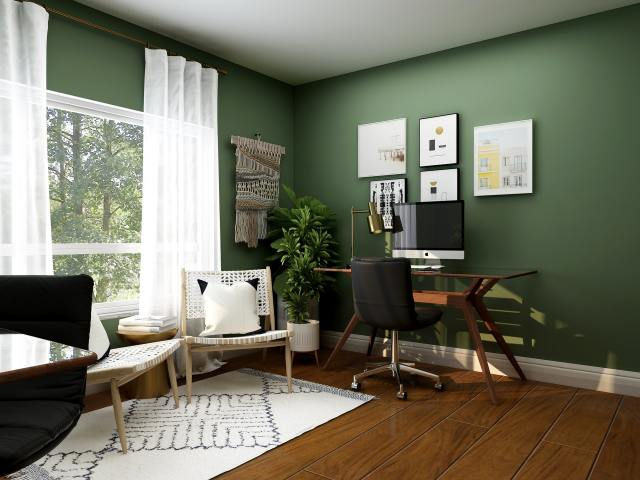 Home office with green walls