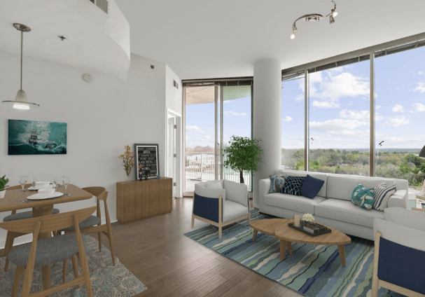 Living room with designed floor