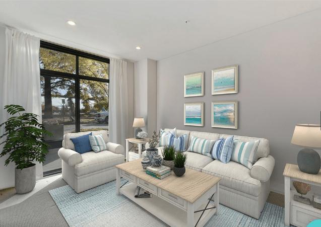 Living room with floor plan