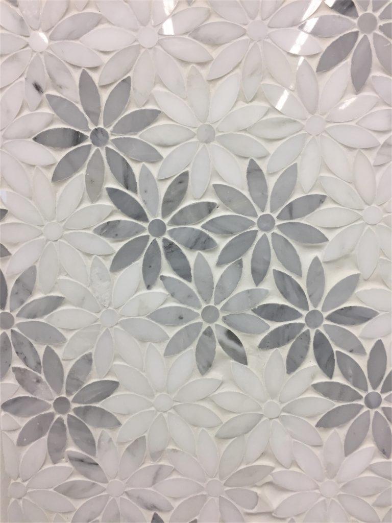 Oriental White And Grey Marble Flower Artistic Waterjet Mosaic Tiles Decor Papa Buy Mosaic