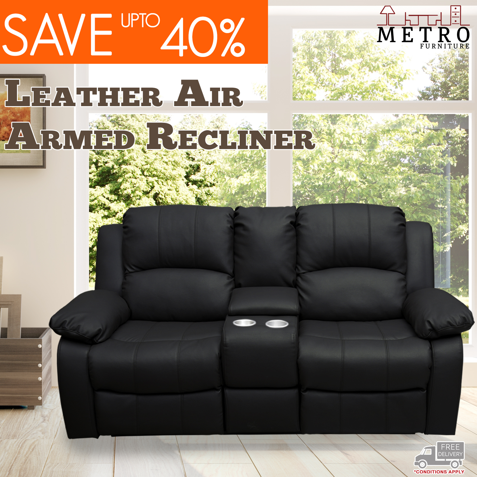 1 seater armed black recliners sofa