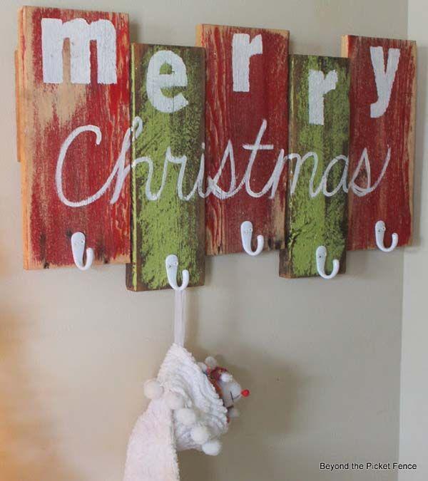 Christmas Decorations Scrap Wood Stocking Hanger 32