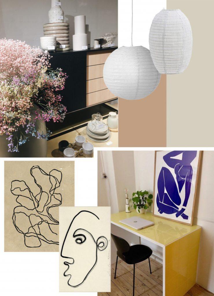 rislamper, kunstplakater, farverige blomster
