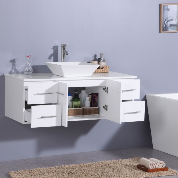 totti wave 48-inch white modern bathroom vanity with counter-top