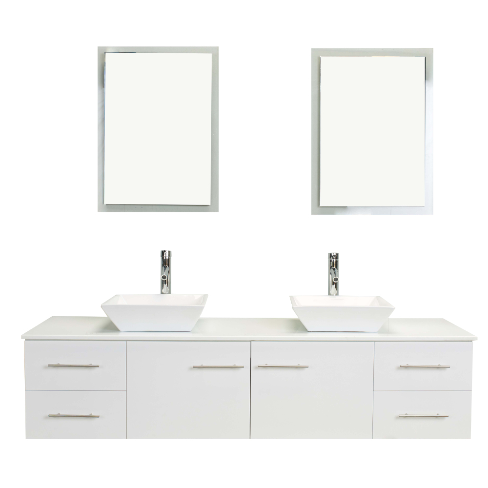 totti wave 60 inch white modern double sink bathroom vanity with counter top and double sinks
