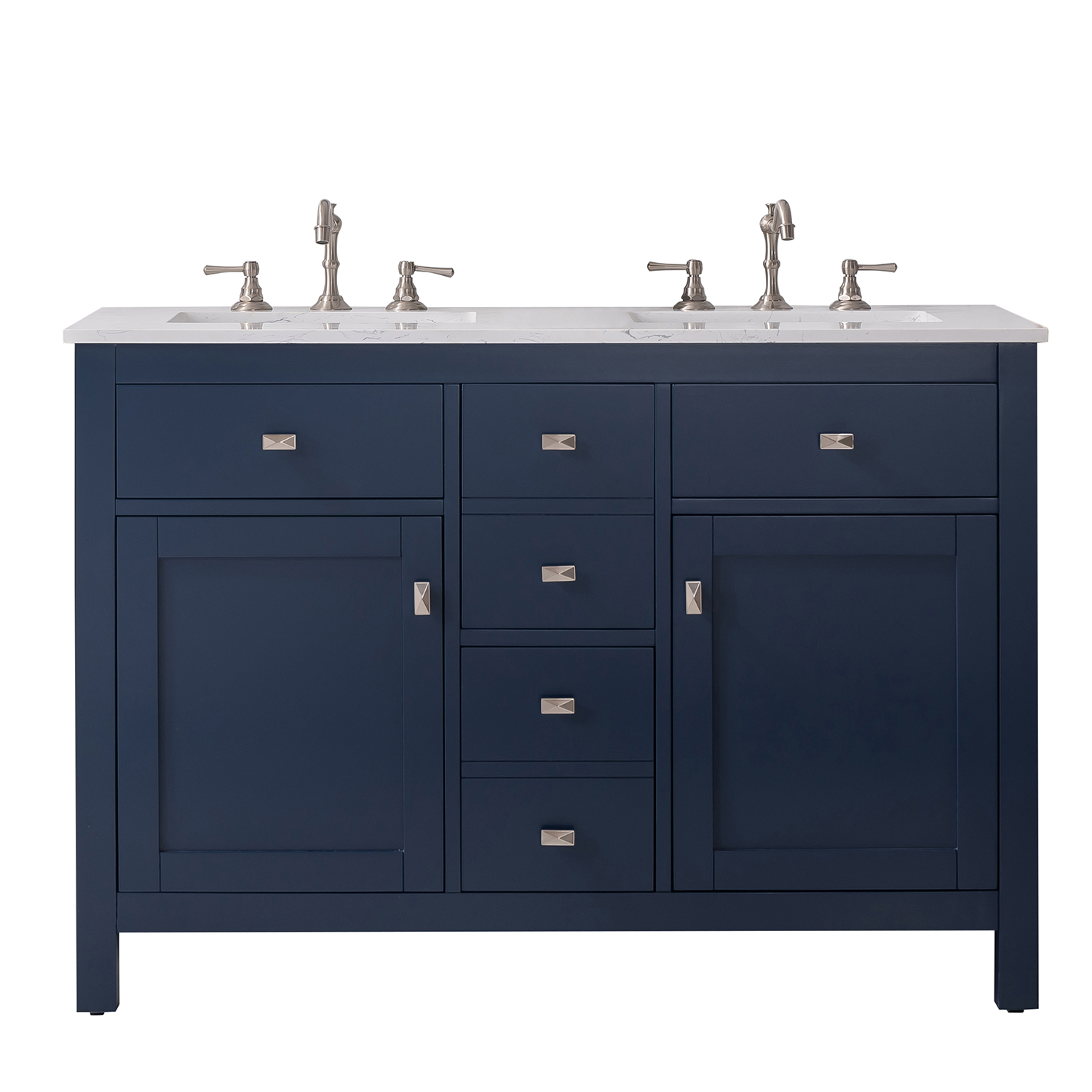 totti artemis 48 blue transitional double sink bathroom vanity w white carrara style man made stone top