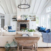 28+ The Basic Facts Of Lake House Blue And White Living Room Decor 4