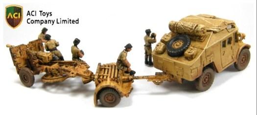 MT6066 British Quad Gun Tractor w 25-Pounder Field Gun & Crew - 01b