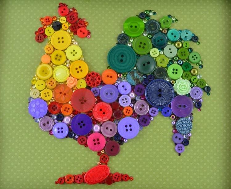 Ljus mångfärgad rooster från knappar