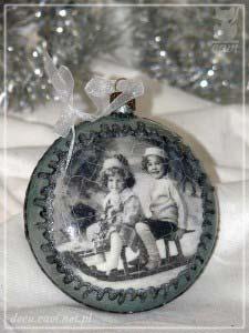 bombki medaliony dzieci vintage