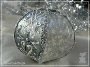 bombki choinkowe bombka srebrna konturówka