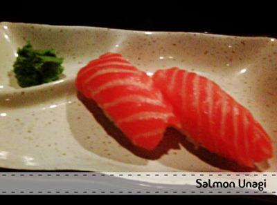 salmon unagi - Santap Salmon Sushi di Nobu Bistro