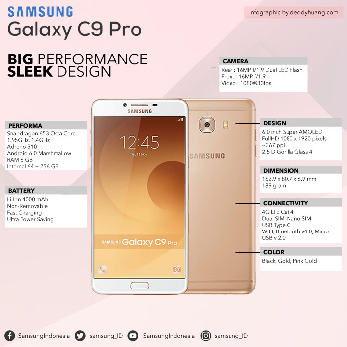 Spesifiksi Samsung Galaxy C9 Pro