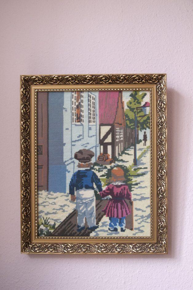 gouden vintage lijst geborduurde kinderen