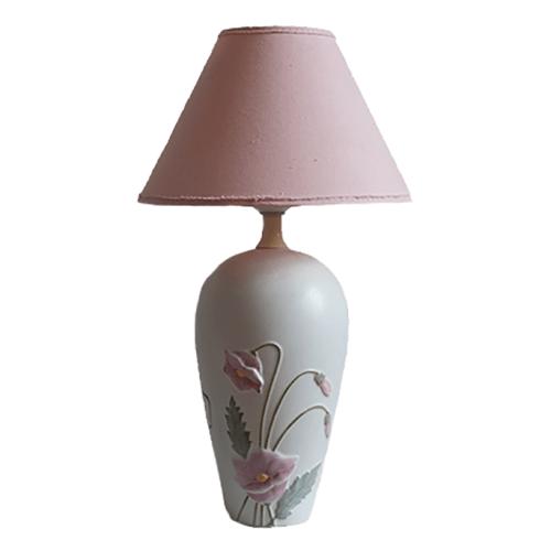 Witte tafellamp roze kap