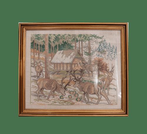 Vintage lijst geborduurde elanden
