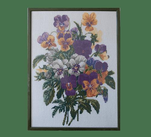 Groene vintage lijst geborduurde bloemen