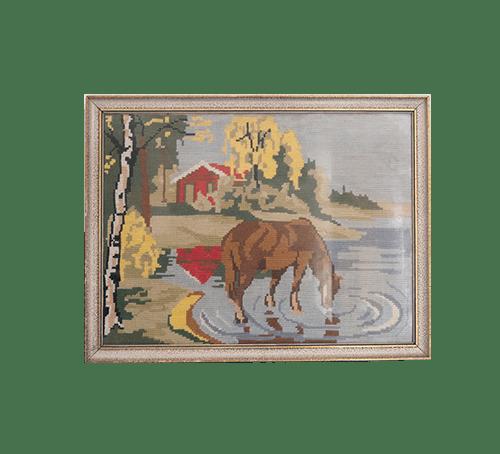 vintage lijst geborduurd paard