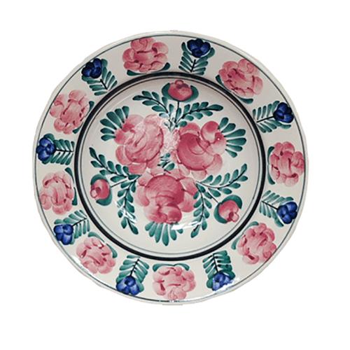 schaal roze blauwe bloemen