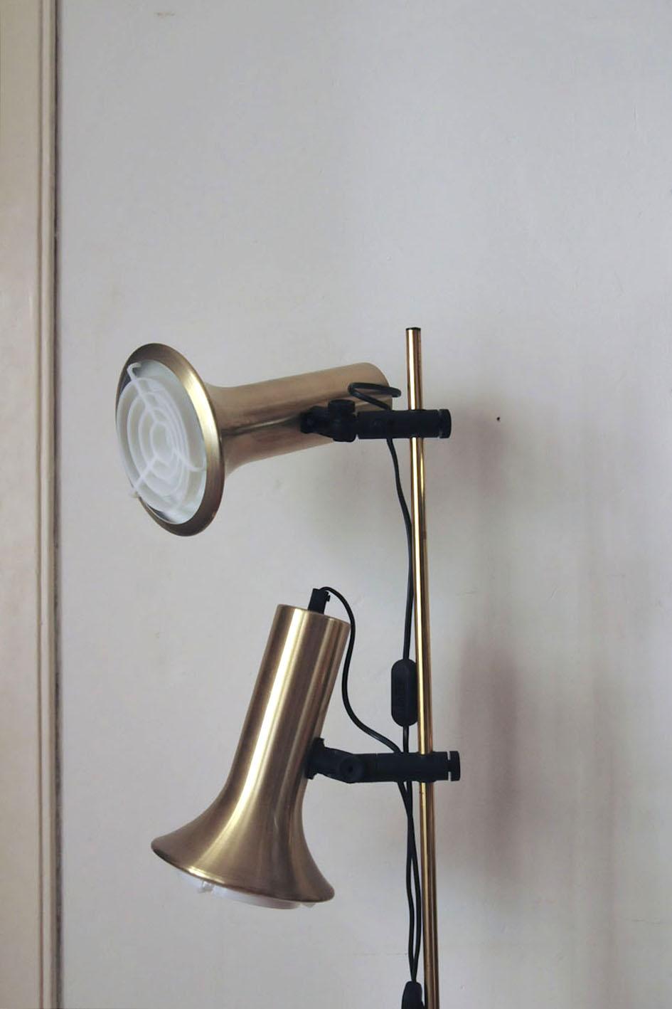 gouden messing vloerlamp