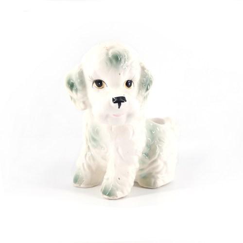 porseleinen bloempot hond