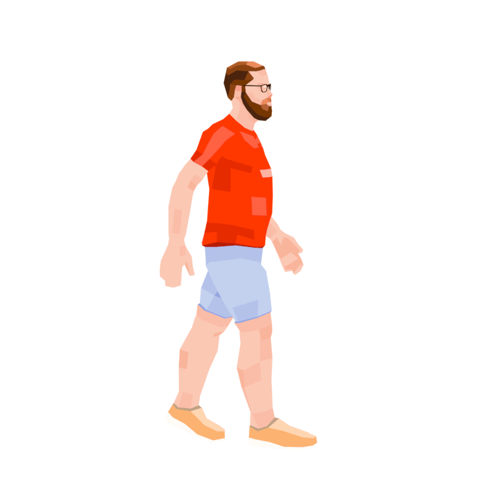 Man Walking with Red TShirt