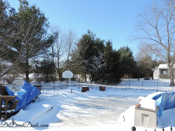 snow covered backyard pool