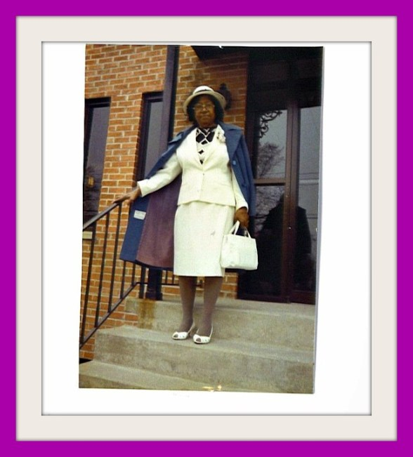 Mama going to church in purple