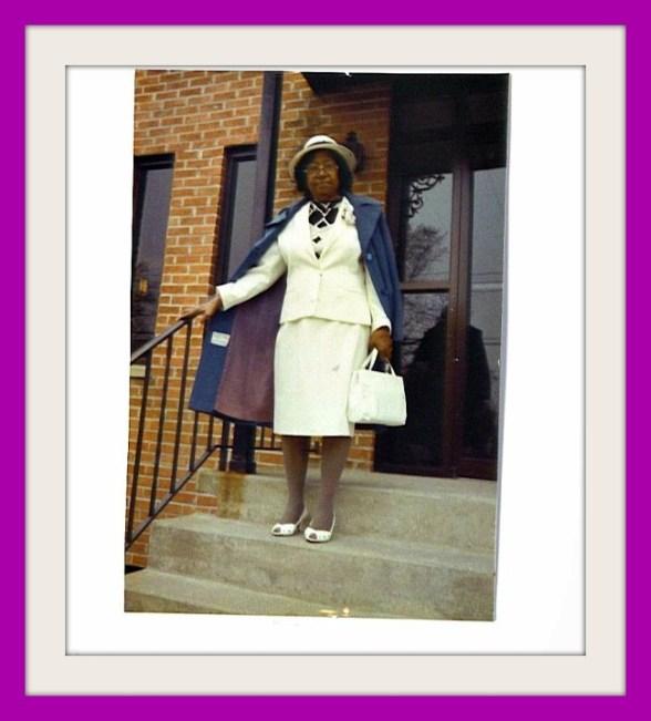 Mama going to church in purple