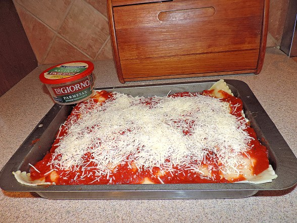 Sprinkle with shredded cheese or fresh parmasean