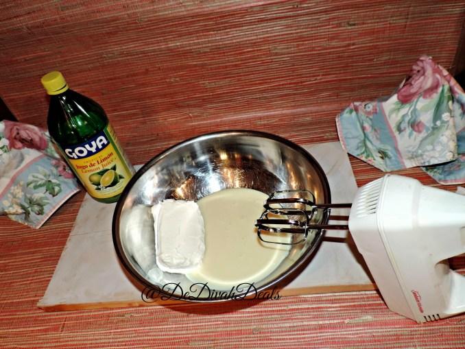 Beat softened cream cheese with condensed milk