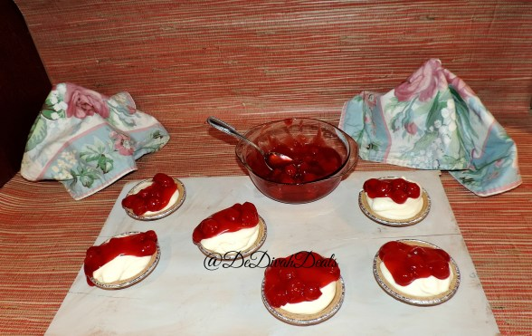 Spoon mixture into crust and top with cherry filling