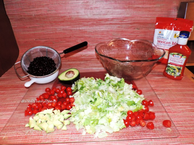 Wash all veggies and rinse and drain black beans