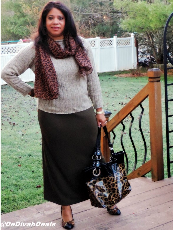 thrifted skirt with animal print scarf