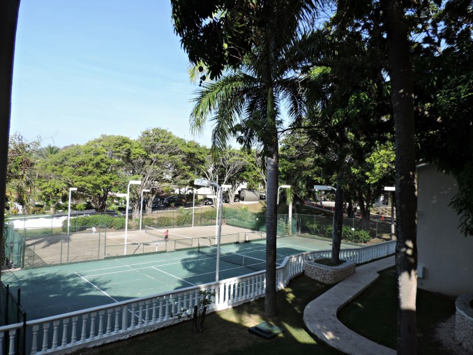 overlooking the tennis courts