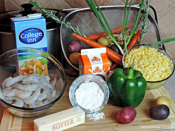 ingredients for shrimp and corn chowder